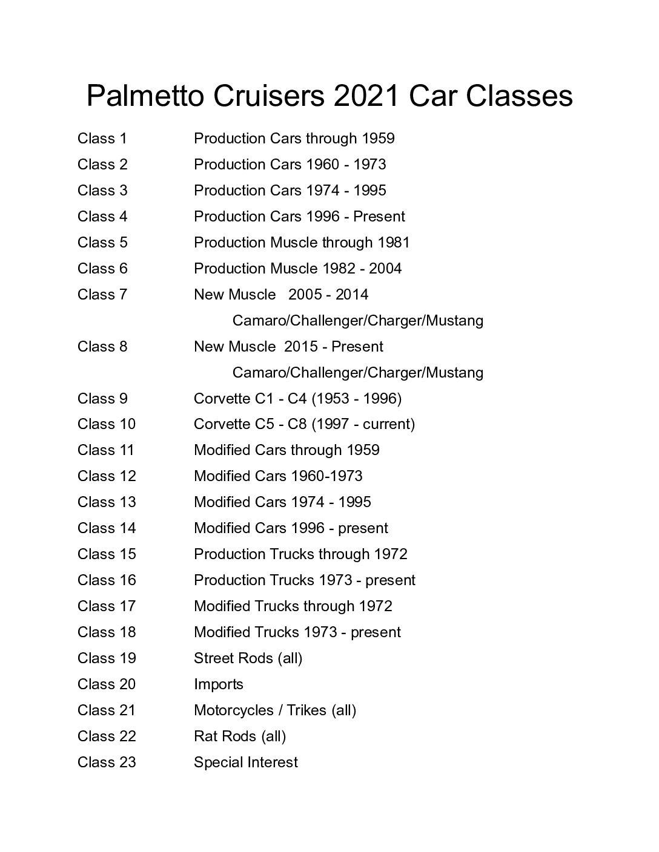 Car Show Classes